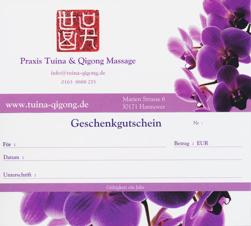 Massage Gutschein Hannover, Geschenk Gutschein Hannover